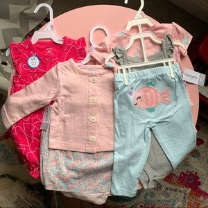 Lot of 3 spring summer outfits Carter's baby girl